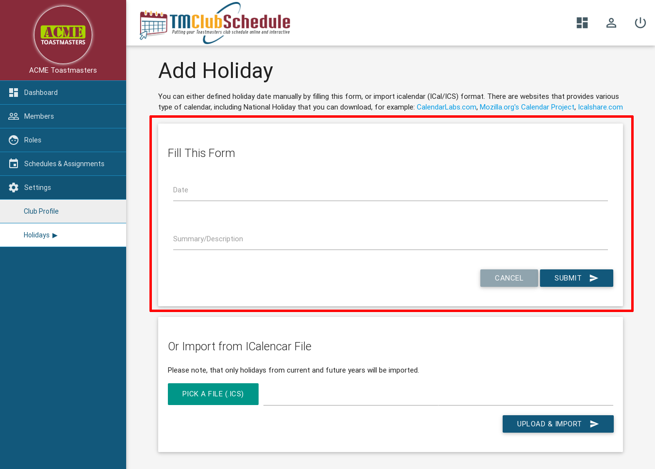 Screenshot: New Holiday Form